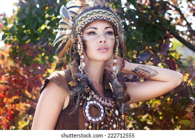 Portrait of a young lady in the Indian roach