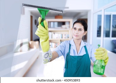 Portrait of young maid wearing uniform and apron, cleaning the mirror with spray at the home