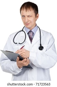 Portrait of young male doctor writing down notes against white background