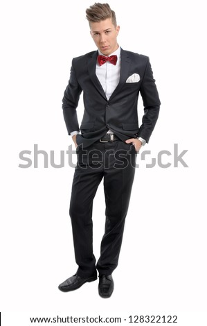 67f643d9851ca Portrait Young Male Model Red Bow Stock Photo (Edit Now) 128322122 ...
