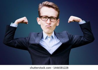portrait of young man with big head  in suit flexing his muscles