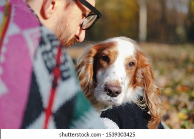 Portrait of a young man and cocker spaniel on autumn background. Сoncept of close friendship and love between dog and its owner, trust and affection or getting through emotional difficulty