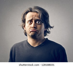 portrait of young man disappointed