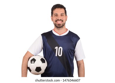 Portrait of young man with football ball. Sport concept.