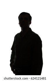 Portrait of a young man, front view - silhouette