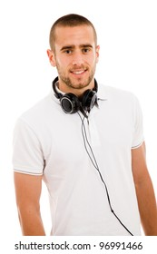 portrait of young man with headphones against a white background