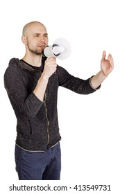 Portrait of a young man holding megaphone. human emotion expression and lifestyle concept. image on a white studio background.