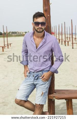 b1f23e4f79ad Portrait Young Man Model Sunglasses Beach Stock Photo (Edit Now ...