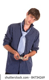 portrait of a young man with money