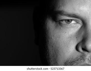 Portrait of young man monochrome