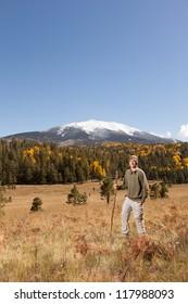 Portrait of Young Man on Autumn Hike (Humphreys Peak in Flagstaff, Arizona)