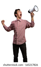 Portrait of a young man shouting using megaphone, isolated on white