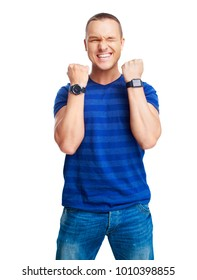 portrait of a young man showing excitement, plaseure and happiness, isolated against white background