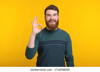 Portrait of a young man showing ok gesture on yellow background.