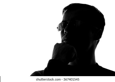 Portrait of a young man, side view - silhouette
