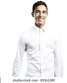 portrait of young man smiling against a white background