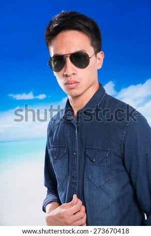 ff40c5276395 Portrait Young Man Sunglasses Posing Beach Stock Photo (Edit Now ...