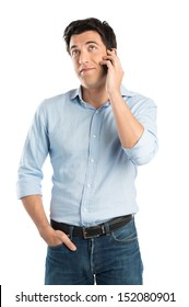 Portrait Of Young Man Talking On Cell Phone Isolated On White Background
