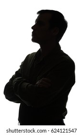 Portrait of a young man, think, side view - silhouette