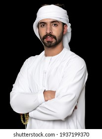 A Portrait of a young man, through which the Emirati dress of the United Arab Emirates is visible, photo taken on 03-15-2021