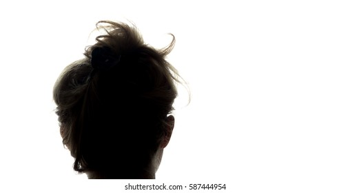 Portrait of a young man, view from the back - silhouette