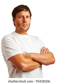 Portrait of young man in a white t-shirt isolated on white background