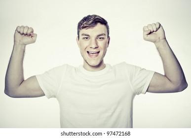 portrait of young man winner