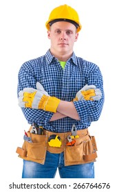portrait of young men wearing working clothes with tools isolated on white background