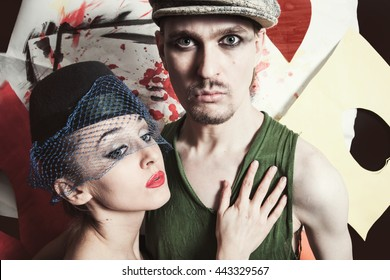 portrait of young men and women in retro style close up
