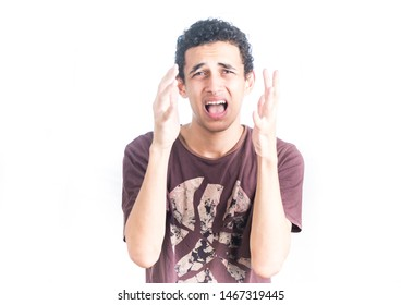 Portrait of a young middle east man - teenager student guy on a white background - Image