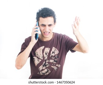 Portrait of a young middle east man - teenager student using smart phone - guy on a white background - Image