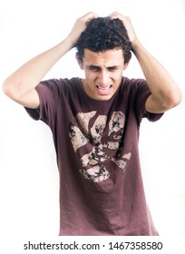 Portrait of a young middle east man - teenager student over thinking - guy on a white background - Image