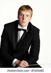 Portrait of young music conductor