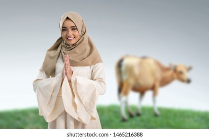 portrait of young muslim woman with cow for idul adha qurban celebration