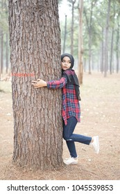 Portrait of young muslim woman scottish shirt and the black hijab Hugging big tree.in autumn season background.World environment day,nature and people protect environment concept.
