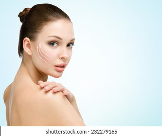 Portrait of young naked woman before a facelift. Concept of beauty and perfect skin