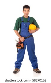 Portrait of young Nepalese attractive carpenter wearing a blue overall, tool belt and holding a  yellow helmet . Studio shot. White background.