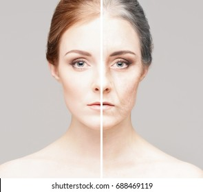 Portrait of a young and old girl. Skincare, plastic surgery, make-up and skincare concept.