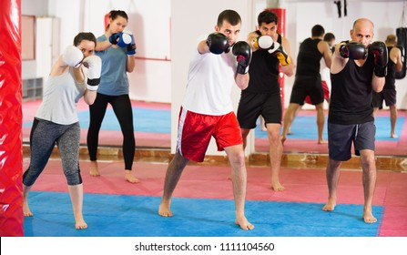 Portrait of young positive females and adult males training in boxing gloves