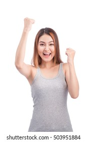 Portrait of young pretty asian woman hands up raised arms, screaming yelling isolated on white background