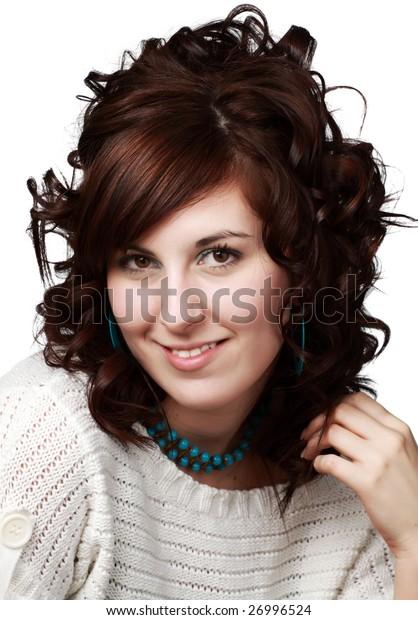 portrait of a young pretty caucasian woman.