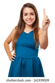 portrait of young pretty woman counting gesture