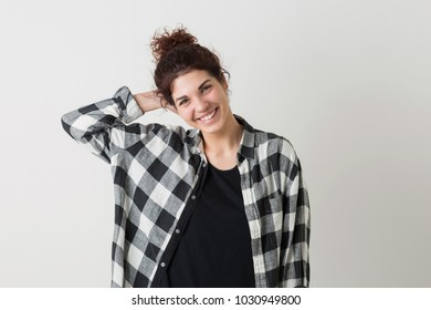 portrait of young pretty woman, smiling, happy, sincere, positive emotion, isolated on white background, checkered shirt, hipster style, modern youth