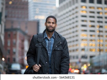 Portrait of young professional in the city, photographed in NYC in November