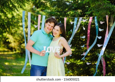 Portrait of a young romantic couple