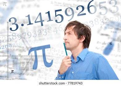 Portrait of young scientist calculating Pi number.