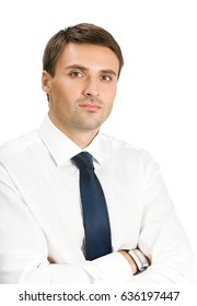 Portrait of young serious businessman, isolated over white background. Success in business, job and education concept shot.