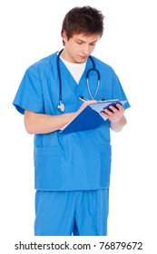 portrait of young serious nurse boy with notepad