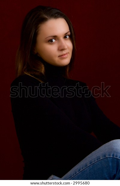 Portrait of the young sexual girl on a dark background