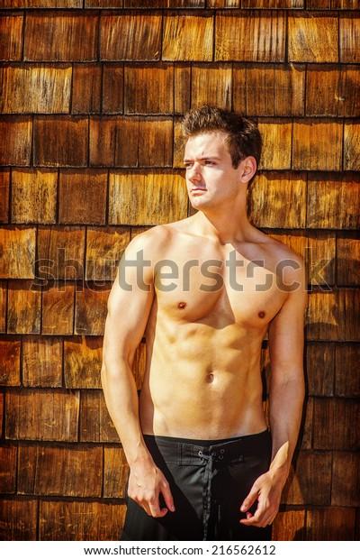 Muscular Sportsman Posing Shirtless Royalty Free Stock